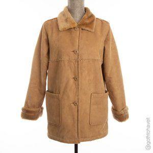 B.C. Clothing Faux Suede Shearling Button Coat